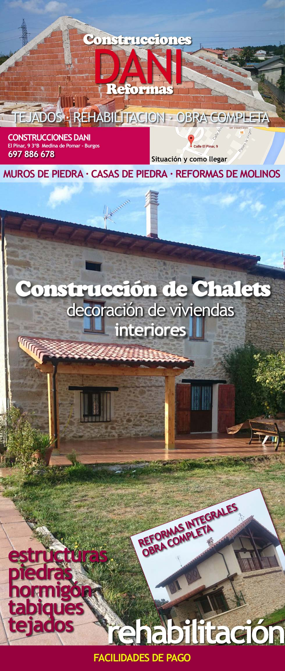 Construcciones dani 697886678 calle el pinar 9 medina de pomar empresa de construccion - Construccion casa de piedra precio ...